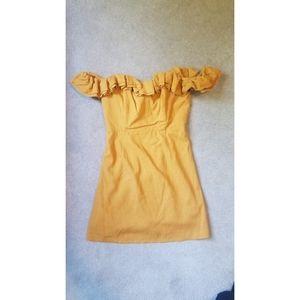 Yellow off shoulder ruffle Lioness dress